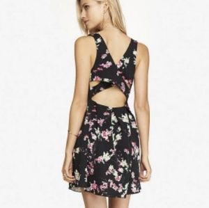 Express Floral Criss Cross Back Mini Dress